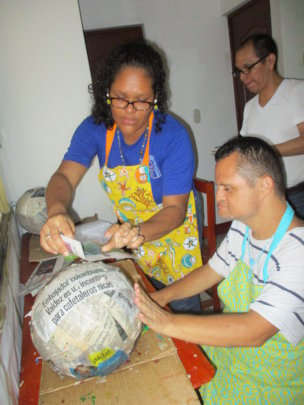 making pinata en the activity centre