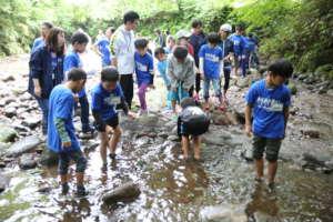 Children enjoying catching fish