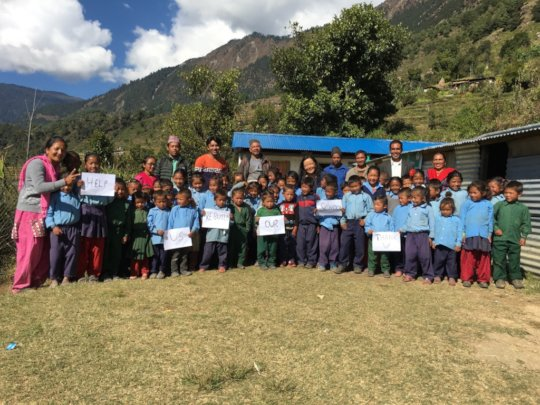 School Children with Teachers.