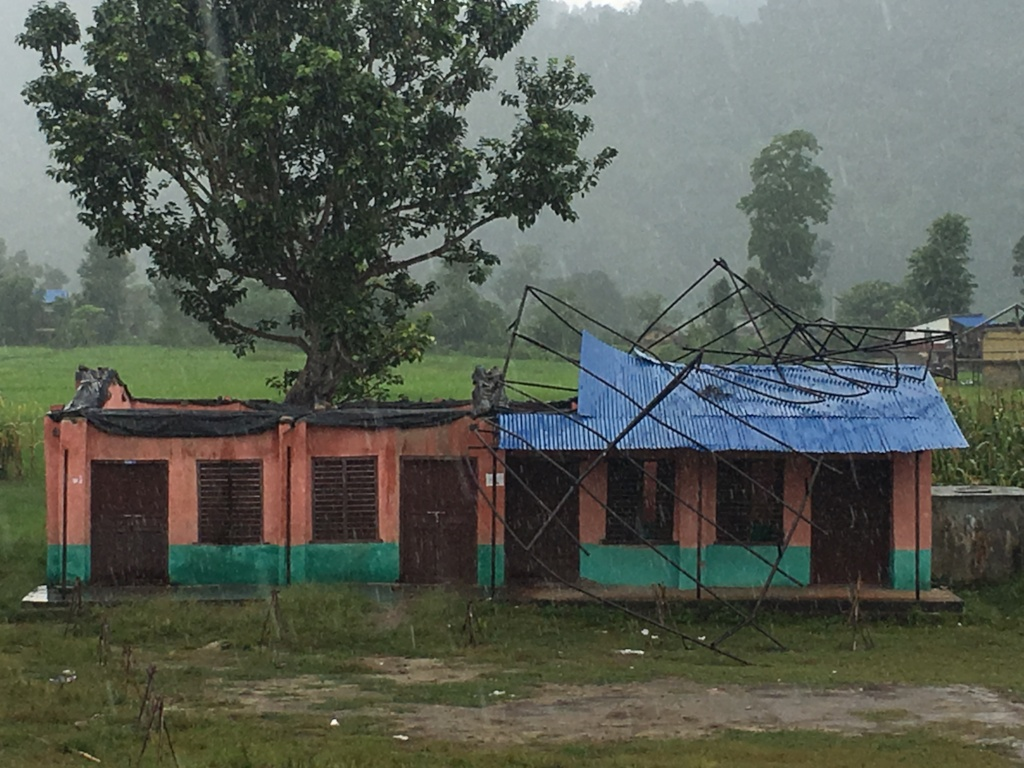 School Building Affected by hurricane