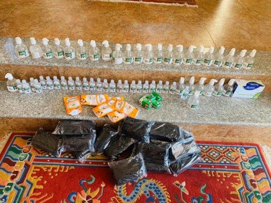 Mask, Sanitizer & others Stuff ready to distribute
