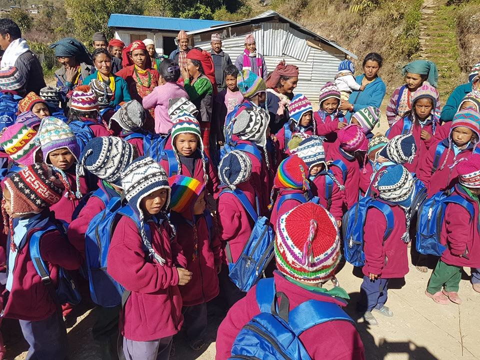 Children with colourful hats