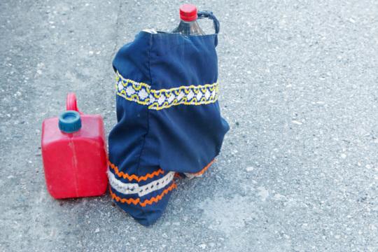 A grandma's water bottles