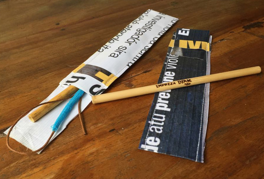 New products - straw case with upcycled banners