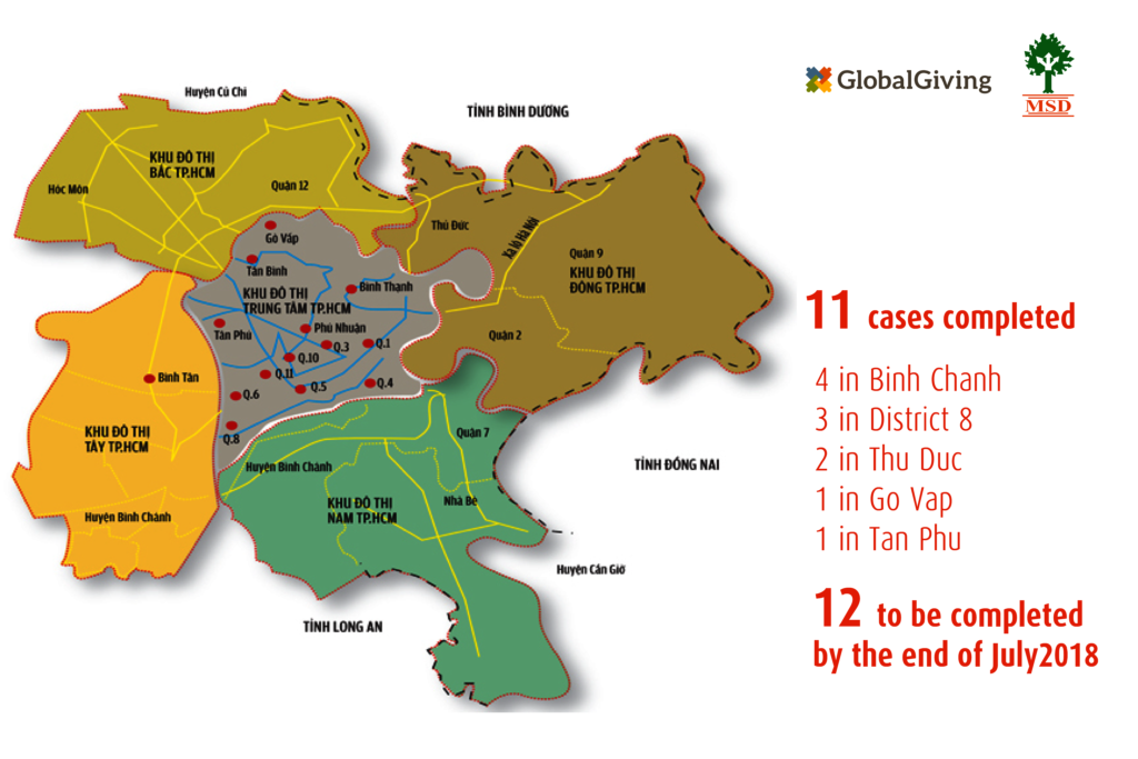 Mapping our completed cases in Hochiminh City, VN