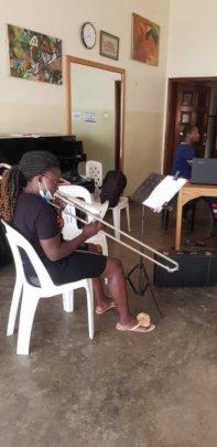 Babirye in Trombone lesson