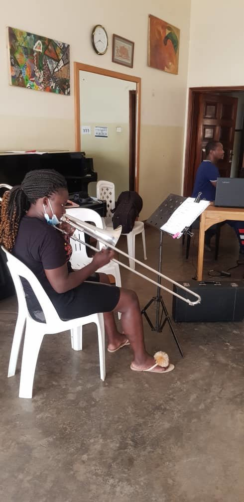 Babirye in Trombone lesson