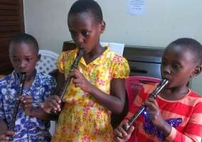 Children learning recorder