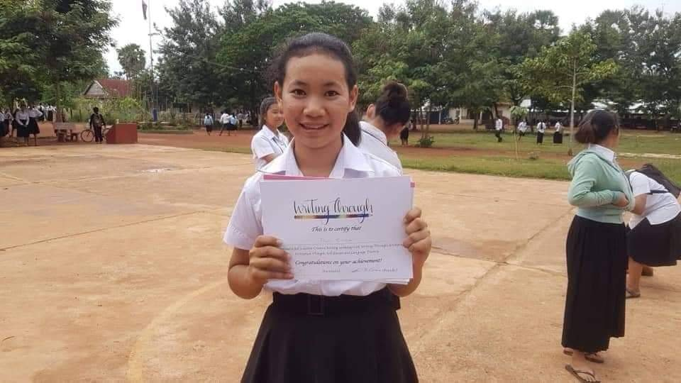 Rina with creative writing certificate