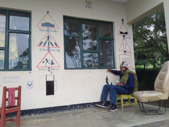 Resident artist at work