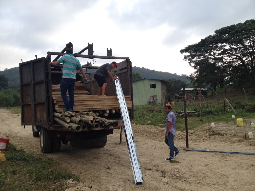 Loading up the truck to begin construction