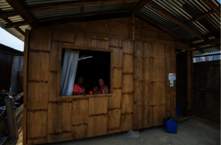 The homes are made from bamboo and wood