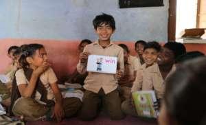 Children using the GKP kits in school