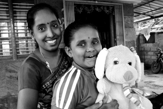 Shalini with her mother