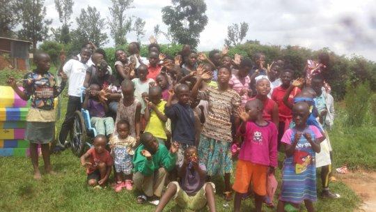 children giving farewell reintegrated counterparts