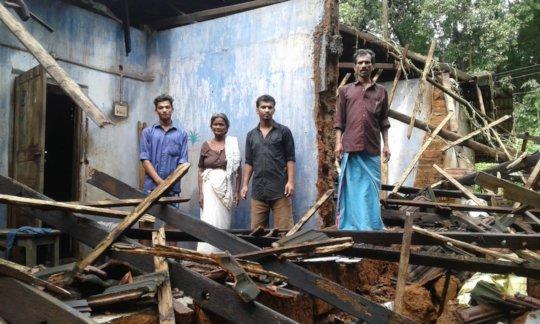 Radhakrishnan's house ravaged by Kerala floods