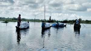 Goonj relief kits on their way (Majuli, Assam)