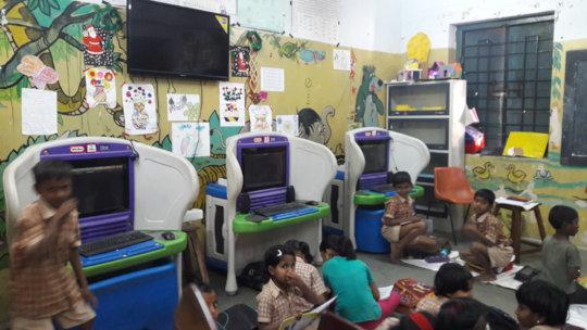 Street Children in Computer room in school