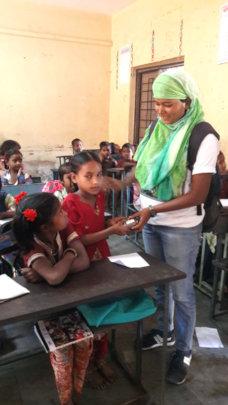 Snacks distribution in School during meal break