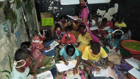 Children studying at their locations
