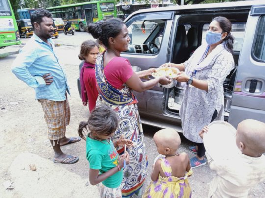 Food distribution to the families