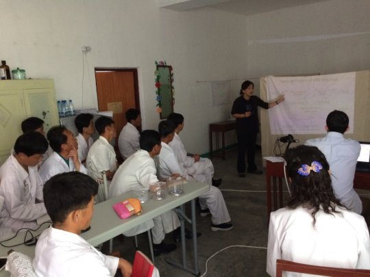 Dr Alice Lee training local physicians, DPRK