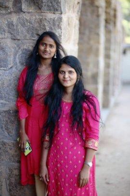 Roja and Yasheshwani after graduation
