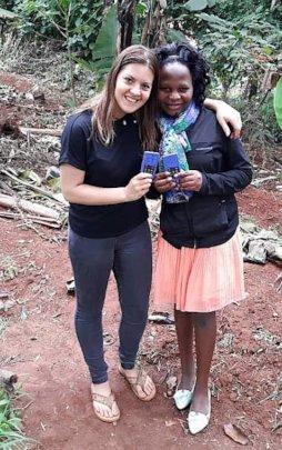 "Volunteer Kora with Josephine, our ""Luganda Voice"""