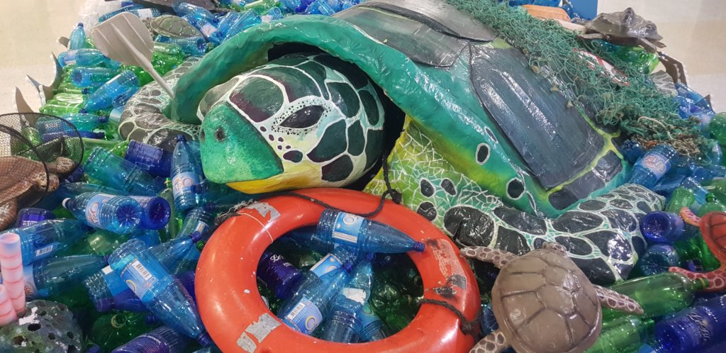 Turtle in the plastic ocean