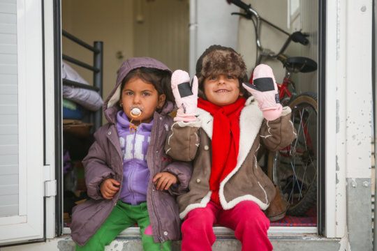 Kids keeping warm after a nutritious meal