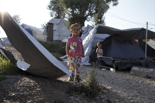 Two girls living in Moria camp