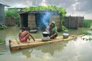 Flood victims preparing their food