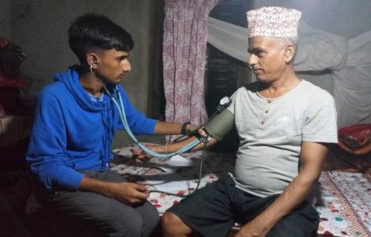 Santosh takes blood pressure