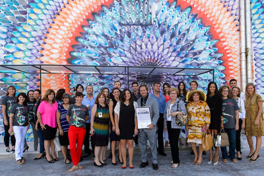 YoungArts Staff and Members with Alumni Mural