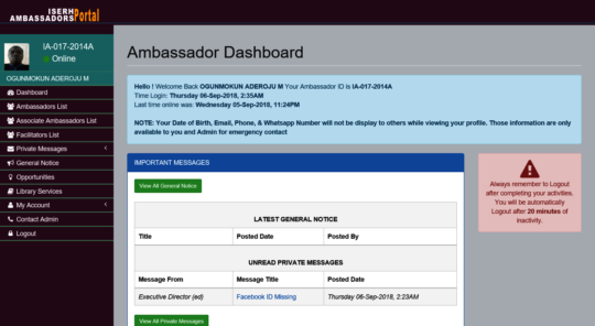 Sample of Ambassadors Dashboard