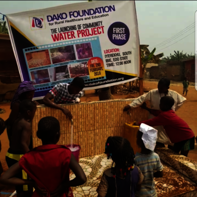 Community residents fetching water
