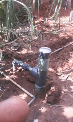 Artesian water source with completed plumbering