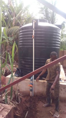 water extension pipe from one of the storage tanks