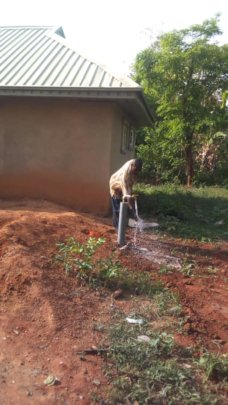 Community water project with new tap