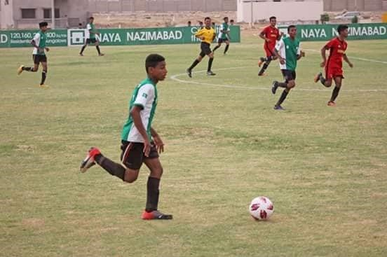Hasnain from the Karachi United Academy in action
