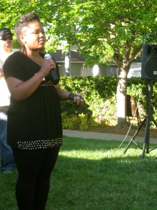 Alumna speaking at End of School-Year Celebration