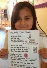Sharing her poem on the significance of words.