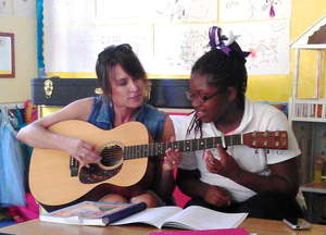 Guitar playing during the music workshop.