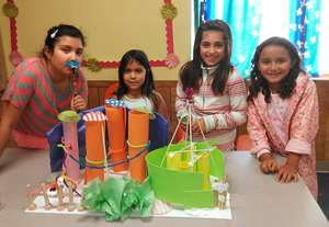 Girls designed and built chocolate factories.