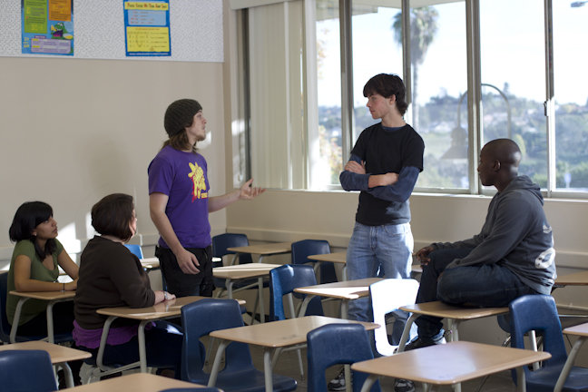 youth actors rehearsing a classroom scene