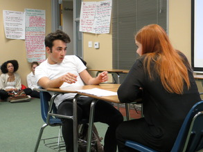improvised scene of a teacher confronting student