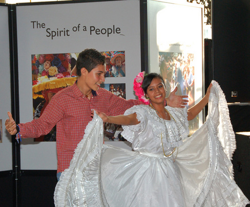 Cristhian and Karla sharing their culture through dance.