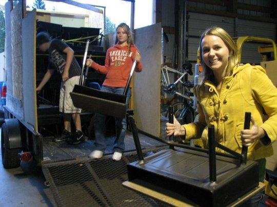 Unloading desks from Wisconsin school
