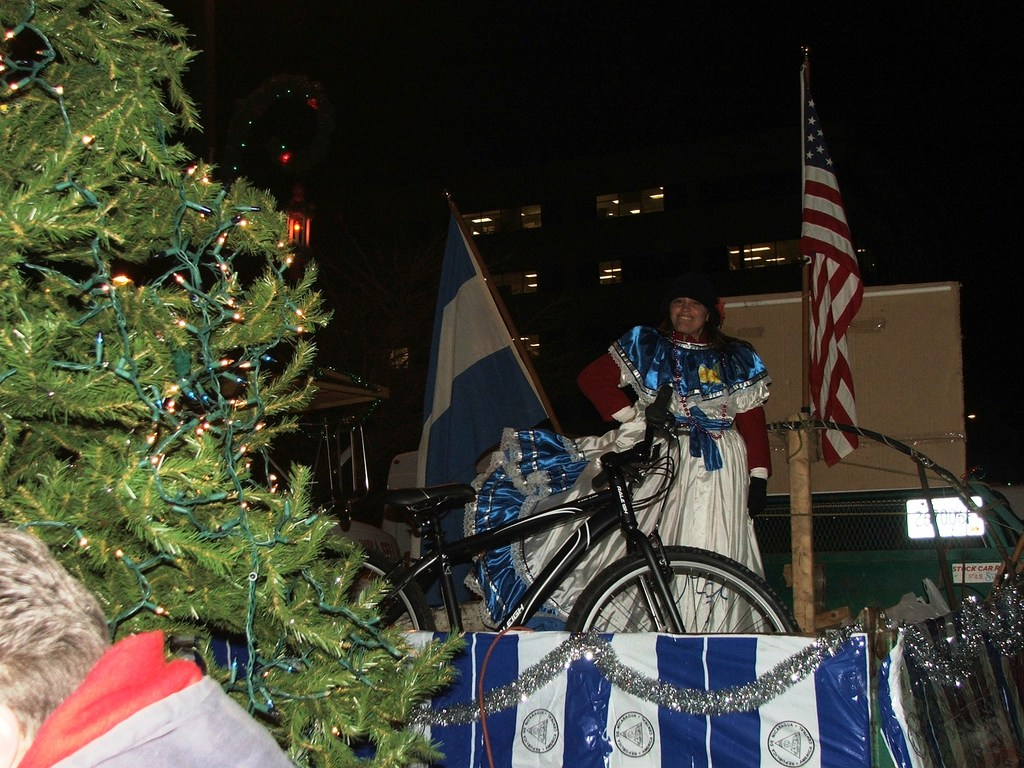 Evelyn braving the cold in the Holiday Parade