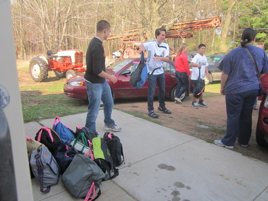 Unloading the AAUW backpacks